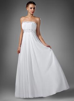 Empire-Linie Herzausschnitt Sweep/Pinsel zug Chiffon Abendkleid mit Rüschen Perlen verziert Pailletten