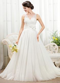 Corte de baile Escote en V Cola capilla Satén Tul Encaje Vestido de novia con Bordado Flores Lentejuelas