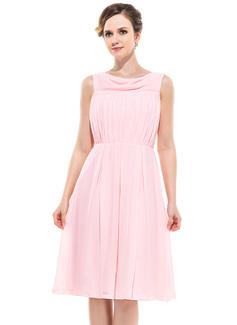 A-Line/Princess Cowl Neck Knee-Length Chiffon Bridesmaid Dress With Ruffle