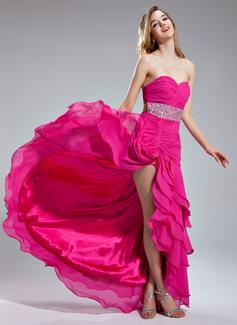 Corte A/Princesa Escote corazón Asimétrico Chifón Vestido de baile de promoción con Bordado Lentejuelas Cascada de volantes