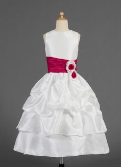 A-Line/Princess Tea-length Flower Girl Dress - Taffeta Sleeveless Scoop Neck With Ruffles/Sash/Flower(s)/Pick Up Skirt