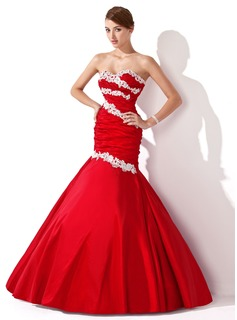 Trumpet/Mermaid Sweetheart Floor-Length Taffeta Prom Dress With Ruffle Beading Appliques Lace Sequins