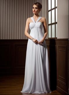 Empire V-neck Watteau Train Chiffon Wedding Dress With Ruffle Beading