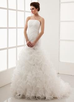 A-Line/Princess Strapless Court Train Organza Wedding Dress With Cascading Ruffles