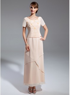 A-Line/Princess Scoop Neck Ankle-Length Chiffon Mother of the Bride Dress With Beading