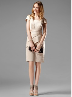 Sheath/Column Square Neckline Knee-Length Satin Kate Middleton Style With Ruffle