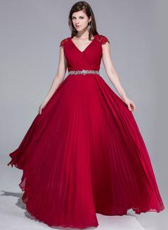 Corte A/Princesa Escote en V Hasta el suelo Chifón Encaje Vestido de noche con Bordado Plisado