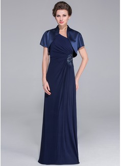 Linjeform En Skuldret/Asymmetrisk Gulvlengde Jersey Kjole til brudens mor med Frynse Perlebesydd