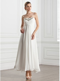 Empire Sweetheart Ankle-Length Chiffon Evening Dress With Ruffle Beading