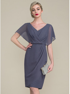 Sheath/Column V-neck Knee-Length Chiffon Mother of the Bride Dress With Ruffle