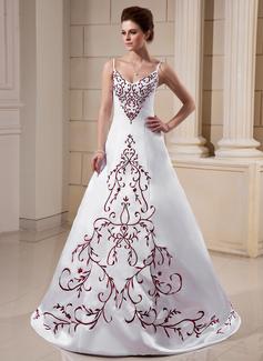 A-linjeformat V-ringning Sweep släp Satäng Bröllopsklänning med Broderad