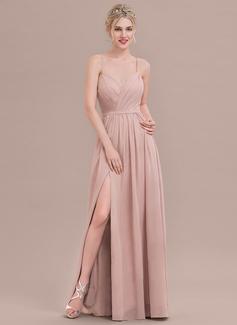A-Line/Princess Sweetheart Floor-Length Chiffon Evening Dress With Ruffle Split Front