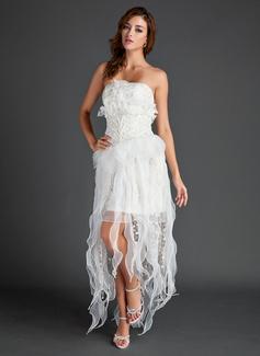 Corte A/Princesa Estrapless Asimétrico Organdí Encaje Vestido de festivo con Bordado
