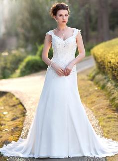 A-linjeformat V-ringning Court släp Chiffong Bröllopsklänning med Spetsar Pärlbrodering Paljetter