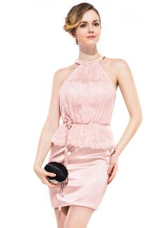 Vestido tubo Escote redondo Corto/Mini Charmeuse Encaje Baile de promoción con Bordado Flores Lentejuelas Cascada de volantes