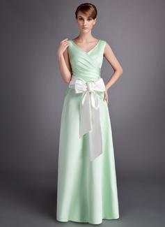 A-Linie/Princess-Linie V-Ausschnitt Bodenlang Satin Brautjungfernkleid mit Rüschen Schleifenbänder/Stoffgürtel Schleife(n)
