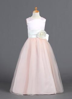 A-Line/Princess Floor-length Flower Girl Dress - Satin/Tulle Sleeveless Scoop Neck With Ruffles/Sash/Flower(s)/Bow(s)