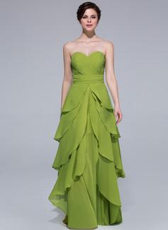 A-Line/Princess Sweetheart Floor-Length Chiffon Holiday Dress With Cascading Ruffles