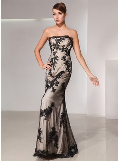 Trumpet/Mermaid Strapless Floor-Length Charmeuse Lace Evening Dress