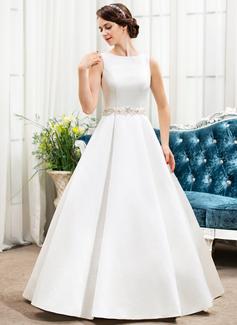 Escote redondo Hasta el suelo Satén Vestido de novia con Bordado Lentejuelas