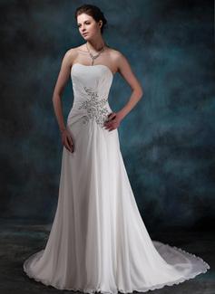 A-Line/Princess Sweetheart Chapel Train Chiffon Wedding Dress With Ruffle Beading Sequins