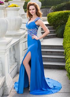 A-formet/Prinsesse Sweetheart Bane-tog Sateng chiffong Ballkjole med Blonder Perlebesydd Paljetter Splittet Front