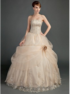 Ball-Gown Strapless Floor-Length Satin Organza Wedding Dress With Ruffle Lace Beading Flower(s)