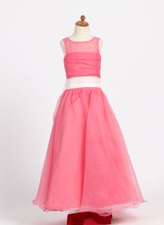 A-Line/Princess Floor-length Flower Girl Dress - Taffeta/Organza Sleeveless Scoop Neck With Ruffles/Sash/Bow(s)