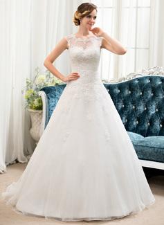 Corte de baile Escote redondo Barrer/Cepillo tren Tul Encaje Vestido de novia con Bordado Lentejuelas