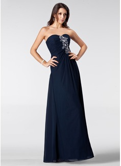A-Line/Princess Sweetheart Floor-Length Chiffon Prom Dress With Ruffle Beading