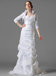 Sheath/Column Sweetheart Court Train Satin Wedding Dress With Ruffle