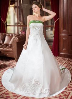 Corte A/Princesa Estrapless Tren real Satén Vestido de novia con Bordado Fajas Bordado