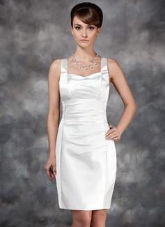 Sheath/Column Sweetheart Knee-Length Charmeuse Wedding Dress With Ruffle