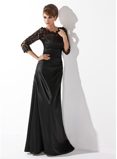 A-Line/Princess Scoop Neck Floor-Length Charmeuse Lace Mother of the Bride Dress With Ruffle Beading