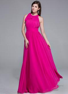 Corte A/Princesa Escote redondo Hasta el suelo Chifón Vestido de noche con Volantes Inspirado en 84th Oscar