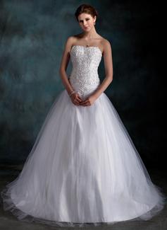 Balklänning Hjärtformad Court släp Taft Tyll Bröllopsklänning med Rufsar Spetsar Pärlbrodering