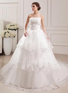 Corte de baile Estrapless Tren de la catedral Tul Vestido de novia con Encaje Bordado Flores
