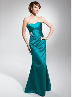 Trumpet/Mermaid Sweetheart Floor-Length Charmeuse Evening Dress With Ruffle Beading