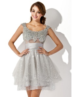 Forme Princesse Col rond Court/Mini Tulle Robe de cocktail avec Plissé Emperler Sequins