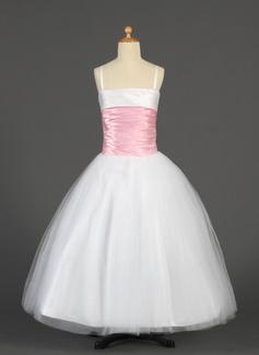 Ball Gown Floor-length Flower Girl Dress - Tulle/Charmeuse Sleeveless Straps With Sash