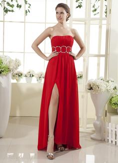 Empire Strapless Floor-Length Chiffon Holiday Dress With Ruffle Beading Split Front