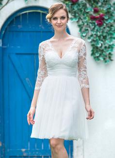 Corte A/Princesa Escote en V Hasta la rodilla Tul Encaje Vestido de novia con Volantes Lazo(s)