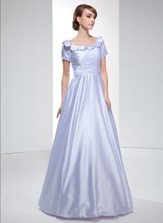 Corte A/Princesa Hombros caídos Vestido Charmeuse Vestido de noche con Volantes