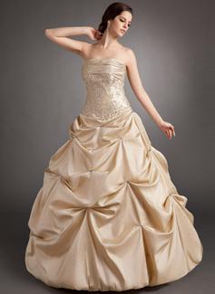 Duchesse-Linie Trägerlos Bodenlang Taft Quinceañera Kleid (Kleid für die Geburtstagsfeier) mit Rüschen Perlen verziert Applikationen Spitze