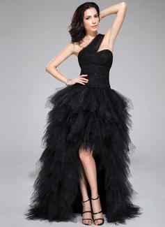 Corte A/Princesa Un sólo hombro Asimétrico Tul Vestido de baile de promoción con Encaje Bordado Lentejuelas Cascada de volantes