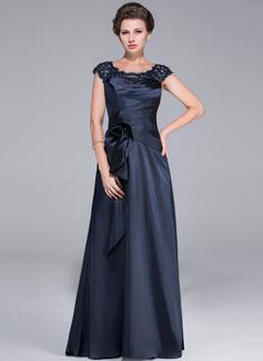 Corte A/Princesa Escote redondo Barrer/Cepillo tren Charmeuse Vestido de madrina con Volantes Encaje Bordado Flores Cascada de volantes