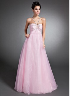 Empire V-neck Floor-Length Organza Holiday Dress With Ruffle Beading