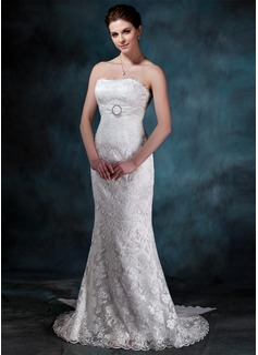 Corte trompeta/sirena Estrapless Cola watteau Encaje Vestido de novia con Volantes Alfiler Flor Cristal Lazo(s)