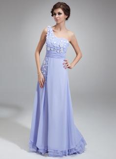 Corte A/Princesa Un sólo hombro Hasta el suelo Chifón Vestido de baile de promoción con Volantes Flores