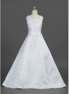 A-Line/Princess Floor-length Flower Girl Dress - Satin Sleeveless Square Neckline With Beading/Flower(s)